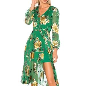 Alice + Olivia COCO Green Gold Floral Dress 0